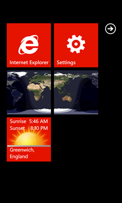 Update Sunset on back of Live Tile